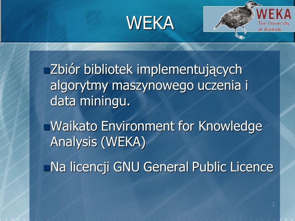 2 WEKA Zbiór bibliotek implementujących algorytmy maszynowego uczenia i data miningu.