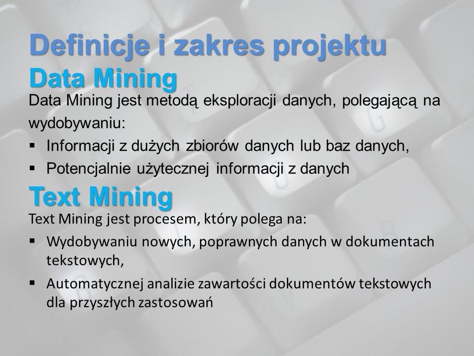 Definicje i zakres projektu Data Mining Data Mining jest metodą eksploracji danych, polegającą na wydobywaniu: Informacji z dużych zbiorów danych lub
