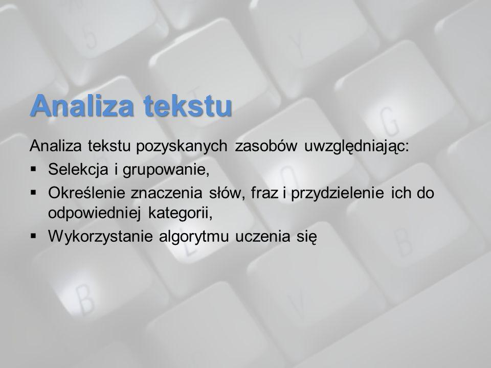 Analiza tekstu Analiza tekstu pozyskanych zasobów uwzględniając: Selekcja i grupowanie, Określenie znaczenia słów, fraz i przydzielenie ich do odpowie