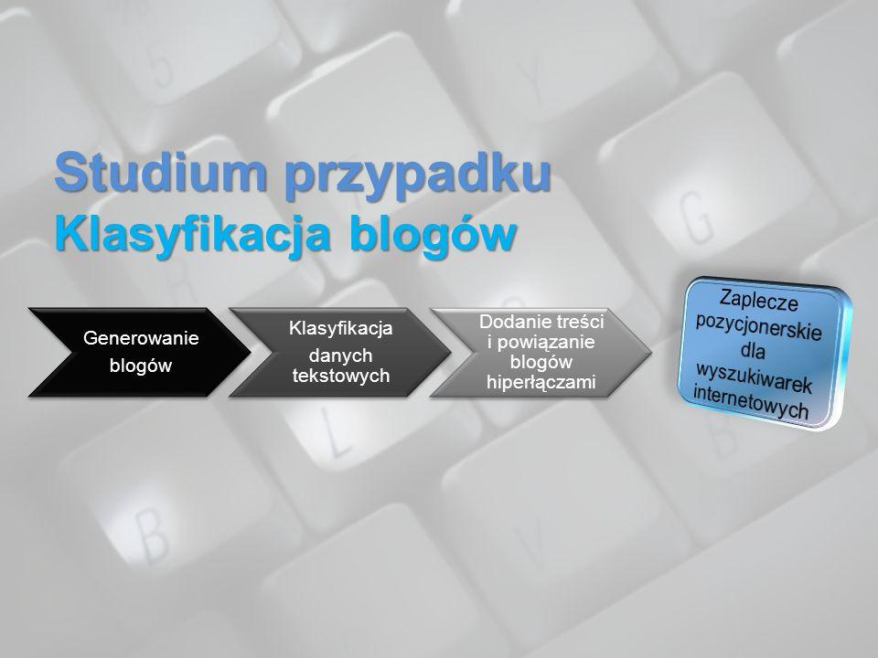 Studium przypadku Klasyfikacja blogów Generowanie blogów Klasyfikacja danych tekstowych Dodanie treści i powiązanie blogów hiperłączami