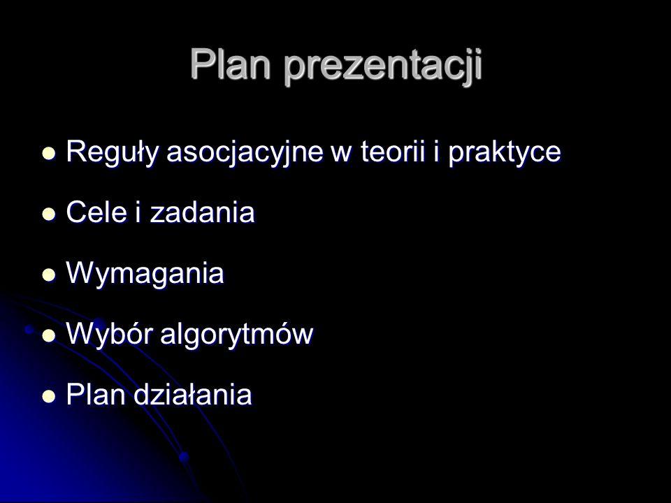 Plan prezentacji Reguły asocjacyjne w teorii i praktyce Reguły asocjacyjne w teorii i praktyce Cele i zadania Cele i zadania Wymagania Wymagania Wybór