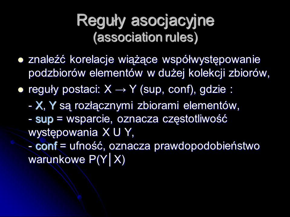 Reguły asocjacyjne (association rules) znaleźć korelacje wiążące współwystępowanie podzbiorów elementów w dużej kolekcji zbiorów, znaleźć korelacje wi