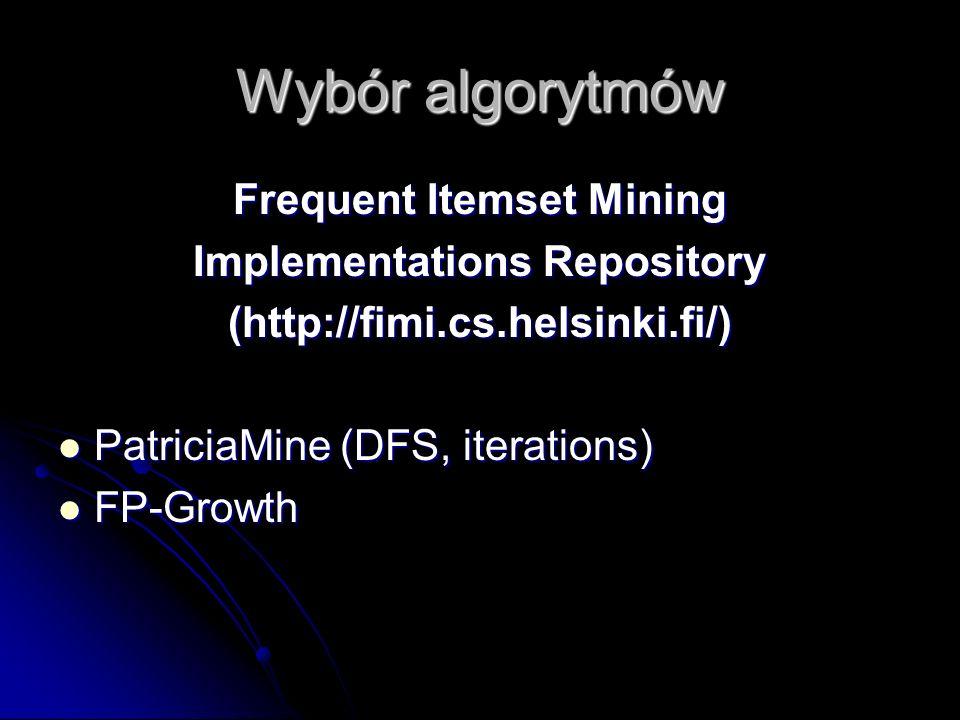 Wybór algorytmów Frequent Itemset Mining Implementations Repository (http://fimi.cs.helsinki.fi/) PatriciaMine (DFS, iterations) PatriciaMine (DFS, it