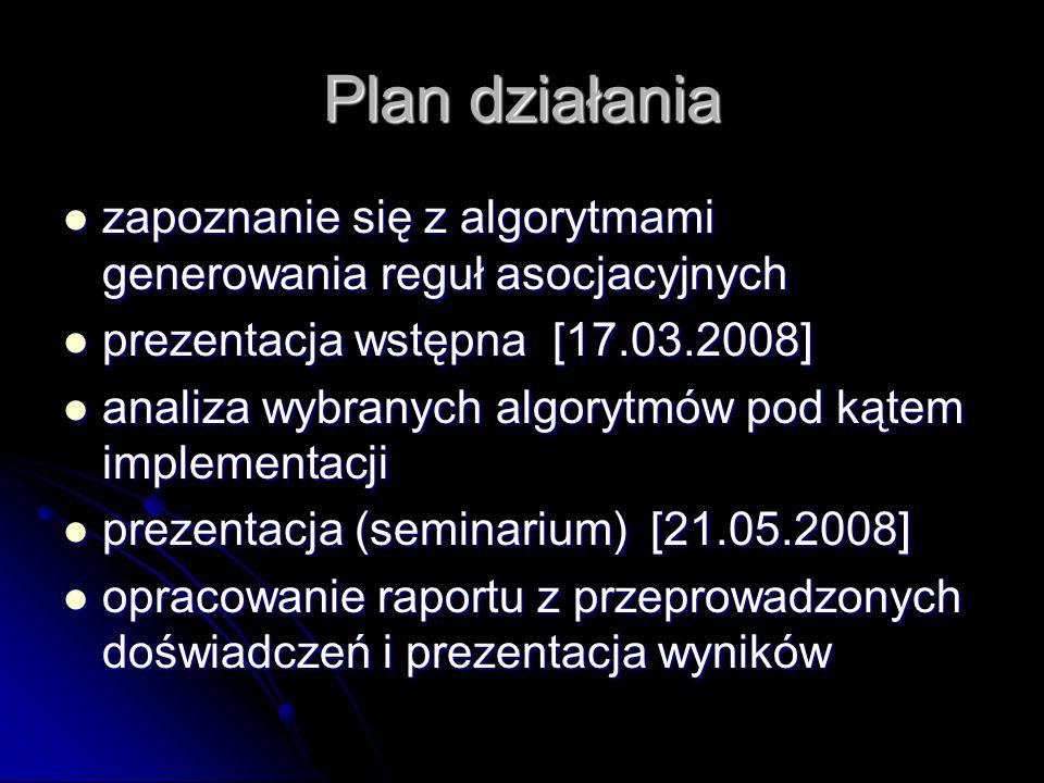 Plan działania zapoznanie się z algorytmami generowania reguł asocjacyjnych zapoznanie się z algorytmami generowania reguł asocjacyjnych prezentacja w