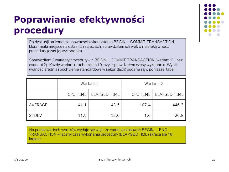 7/11/2009Bazy i hurtownie danych20 Poprawianie efektywności procedury Po dyskusji na temat sensowności wykorzystania BEGIN... COMMIT TRANSACTION, któr