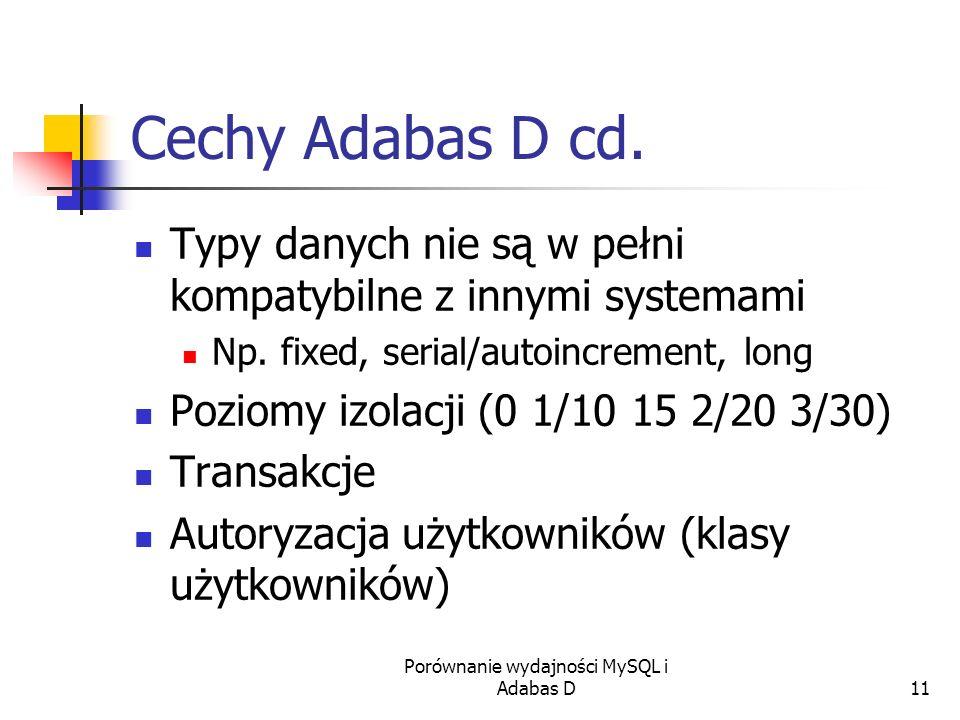 Porównanie wydajności MySQL i Adabas D11 Cechy Adabas D cd. Typy danych nie są w pełni kompatybilne z innymi systemami Np. fixed, serial/autoincrement