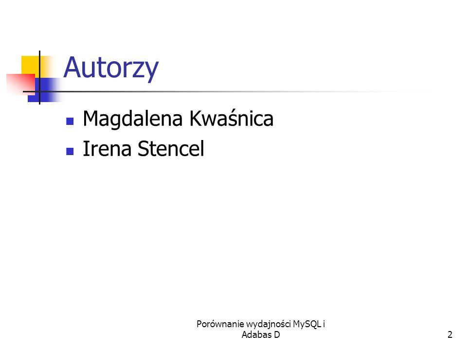 Porównanie wydajności MySQL i Adabas D2 Autorzy Magdalena Kwaśnica Irena Stencel