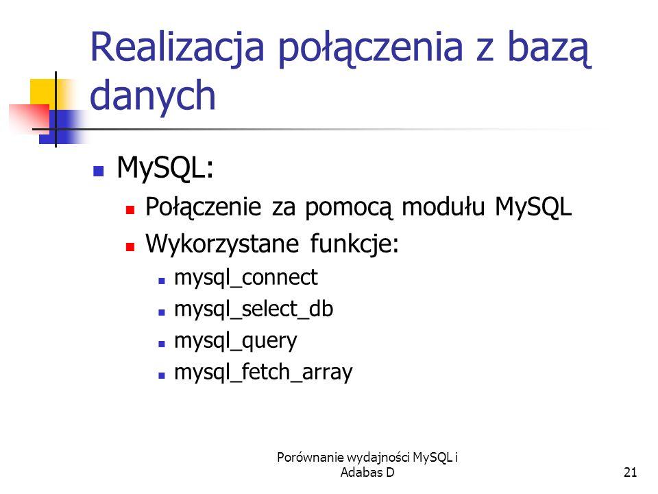 Porównanie wydajności MySQL i Adabas D21 Realizacja połączenia z bazą danych MySQL: Połączenie za pomocą modułu MySQL Wykorzystane funkcje: mysql_conn