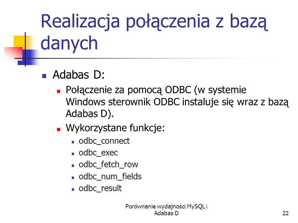 Porównanie wydajności MySQL i Adabas D22 Realizacja połączenia z bazą danych Adabas D: Połączenie za pomocą ODBC (w systemie Windows sterownik ODBC in