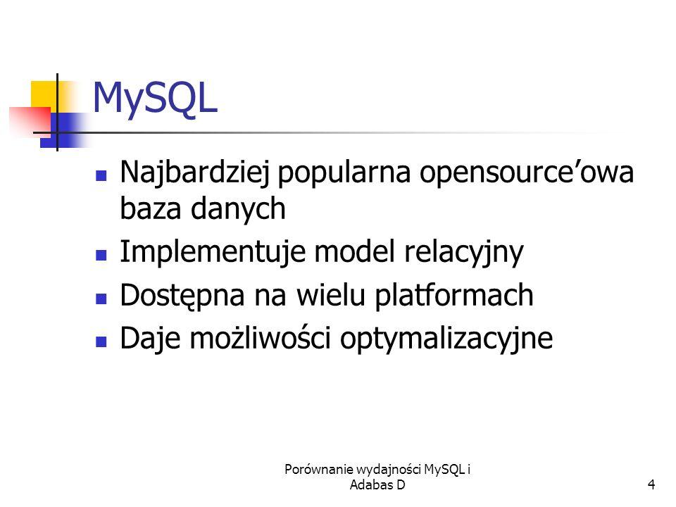 Porównanie wydajności MySQL i Adabas D4 MySQL Najbardziej popularna opensourceowa baza danych Implementuje model relacyjny Dostępna na wielu platforma