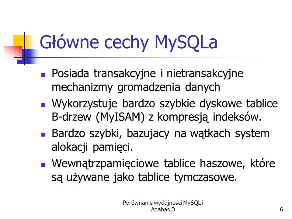 Porównanie wydajności MySQL i Adabas D6 Główne cechy MySQLa Posiada transakcyjne i nietransakcyjne mechanizmy gromadzenia danych Wykorzystuje bardzo s