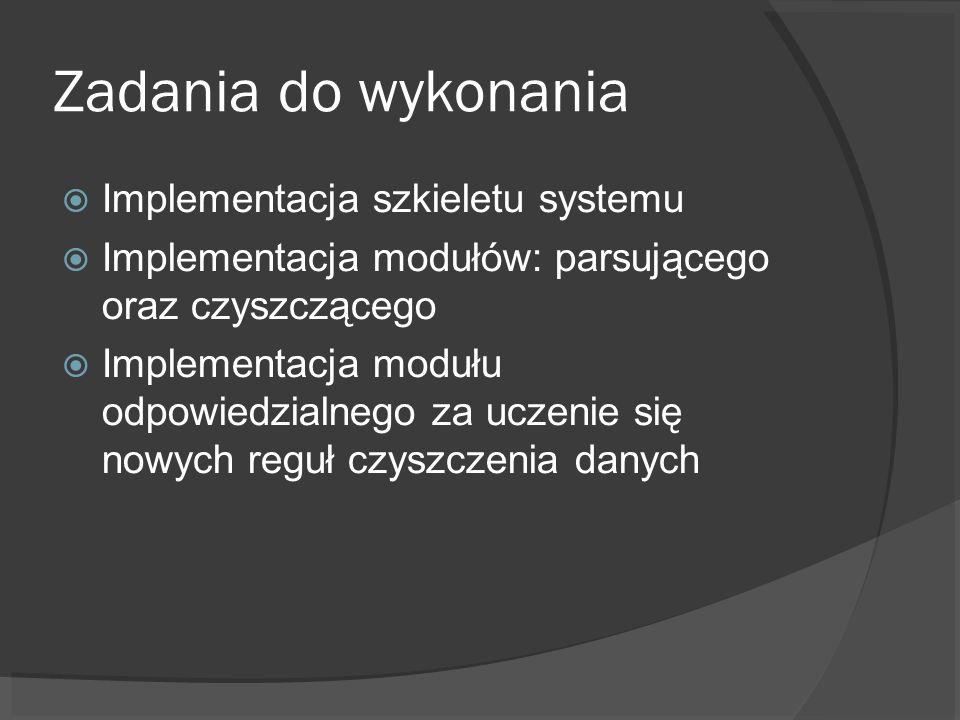 Zadania do wykonania Implementacja szkieletu systemu Implementacja modułów: parsującego oraz czyszczącego Implementacja modułu odpowiedzialnego za uczenie się nowych reguł czyszczenia danych