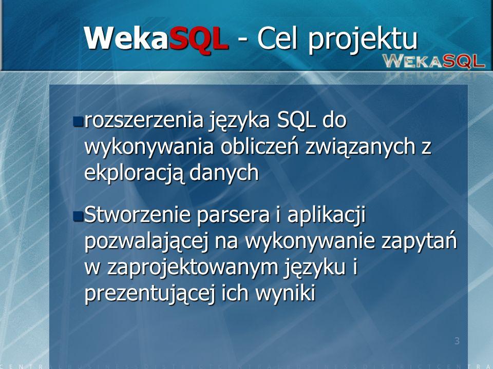 3 WekaSQL - Cel projektu rozszerzenia języka SQL do wykonywania obliczeń związanych z ekploracją danych rozszerzenia języka SQL do wykonywania obliczeń związanych z ekploracją danych Stworzenie parsera i aplikacji pozwalającej na wykonywanie zapytań w zaprojektowanym języku i prezentującej ich wyniki Stworzenie parsera i aplikacji pozwalającej na wykonywanie zapytań w zaprojektowanym języku i prezentującej ich wyniki