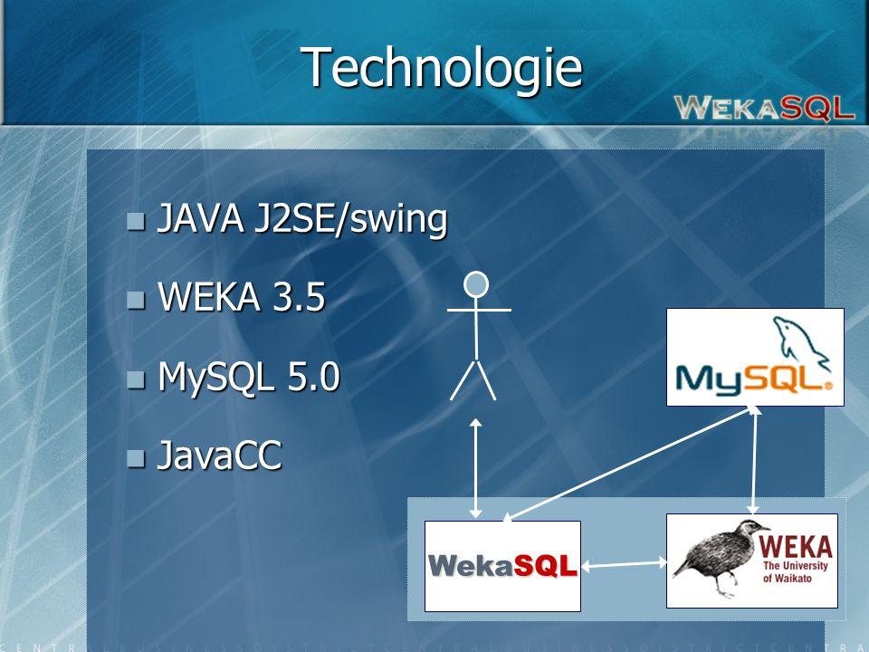 5 Technologie JAVA J2SE/swing JAVA J2SE/swing WEKA 3.5 WEKA 3.5 MySQL 5.0 MySQL 5.0 JavaCC JavaCC WekaSQL