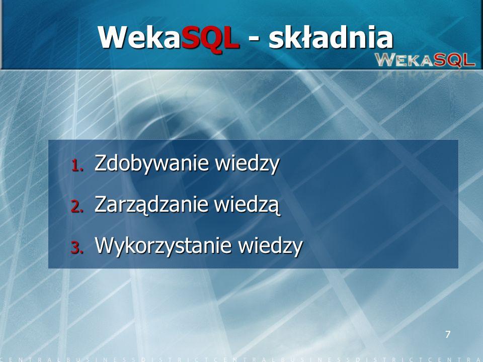 7 WekaSQL - składnia 1. Zdobywanie wiedzy 2. Zarządzanie wiedzą 3. Wykorzystanie wiedzy