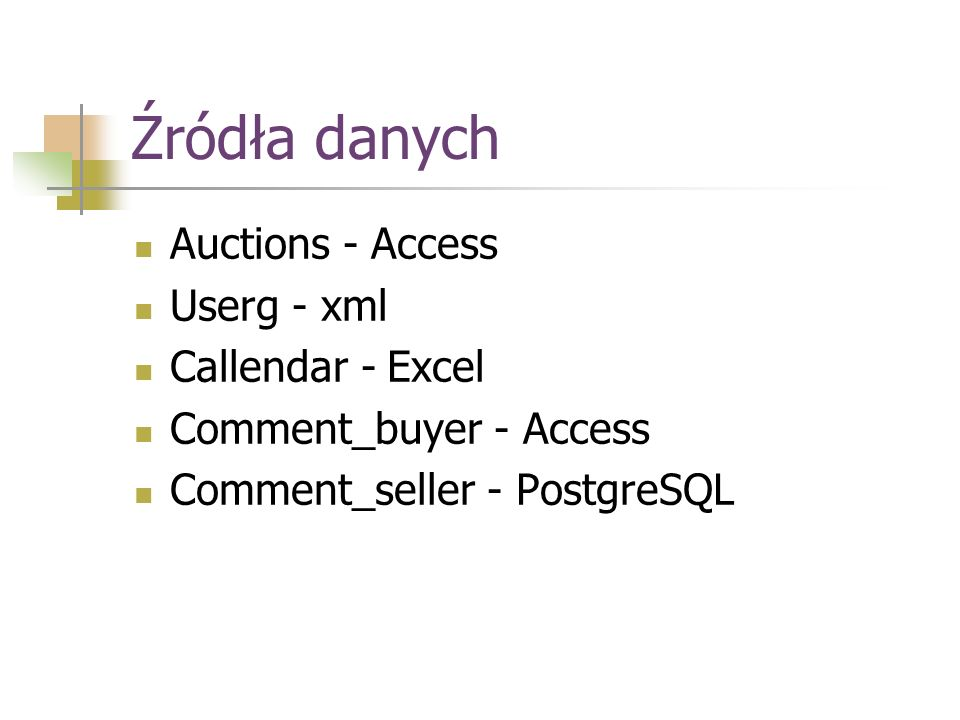 Źródła danych Auctions - Access Userg - xml Callendar - Excel Comment_buyer - Access Comment_seller - PostgreSQL