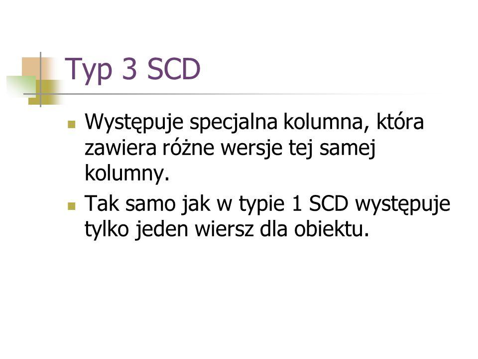Typ 3 SCD Występuje specjalna kolumna, która zawiera różne wersje tej samej kolumny. Tak samo jak w typie 1 SCD występuje tylko jeden wiersz dla obiek