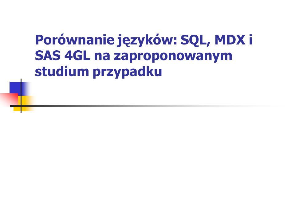 SAS 4GL vs SQL SAS 4GL pozwala zagnieżdżać zapytania w SQL: proc sql; create table kurs.noty2 as select * from kurs.noty where nazwa= TONSIL order by data desc; quit;
