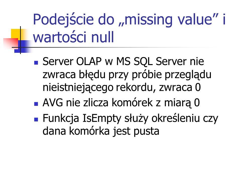Podejście do missing value i wartości null Server OLAP w MS SQL Server nie zwraca błędu przy próbie przeglądu nieistniejącego rekordu, zwraca 0 AVG ni