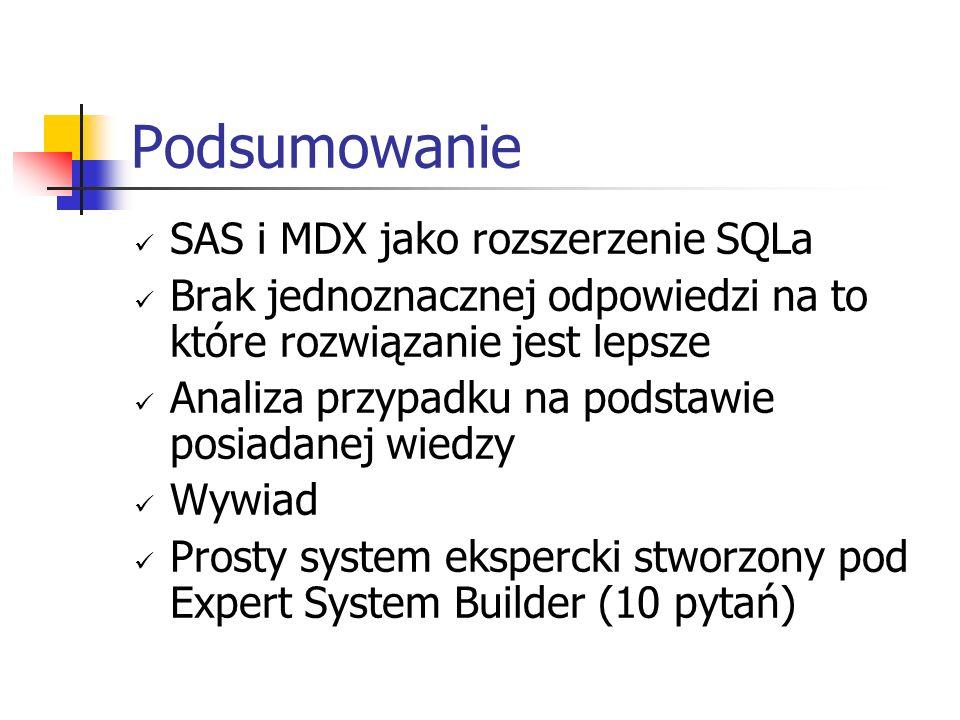 Podsumowanie SAS i MDX jako rozszerzenie SQLa Brak jednoznacznej odpowiedzi na to które rozwiązanie jest lepsze Analiza przypadku na podstawie posiada