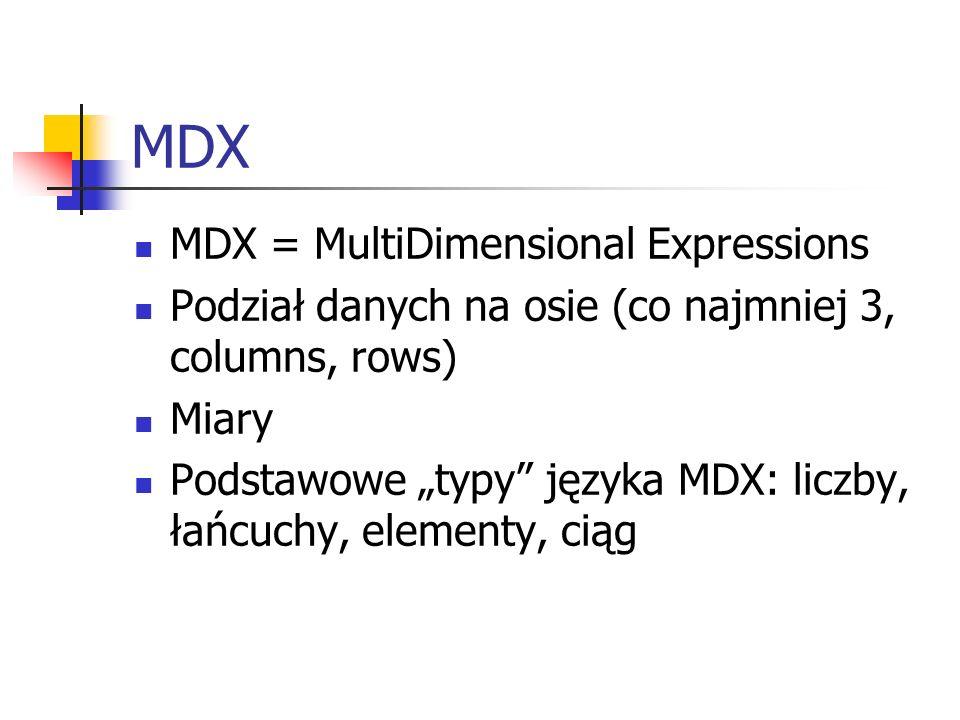 MDX MDX = MultiDimensional Expressions Podział danych na osie (co najmniej 3, columns, rows) Miary Podstawowe typy języka MDX: liczby, łańcuchy, eleme