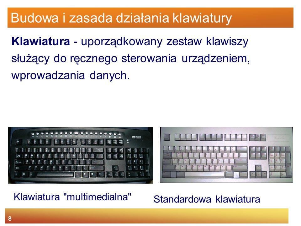 8 Budowa i zasada działania klawiatury Klawiatura - uporządkowany zestaw klawiszy służący do ręcznego sterowania urządzeniem, wprowadzania danych. Sta