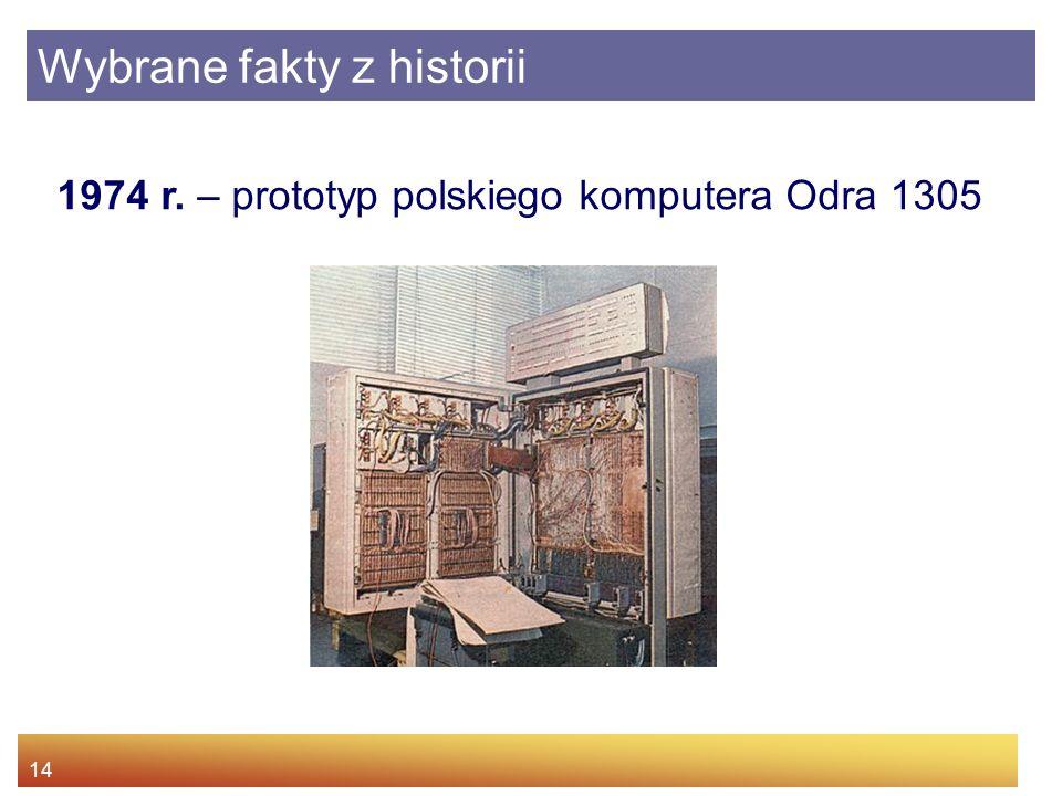 14 1974 r. – prototyp polskiego komputera Odra 1305 Wybrane fakty z historii