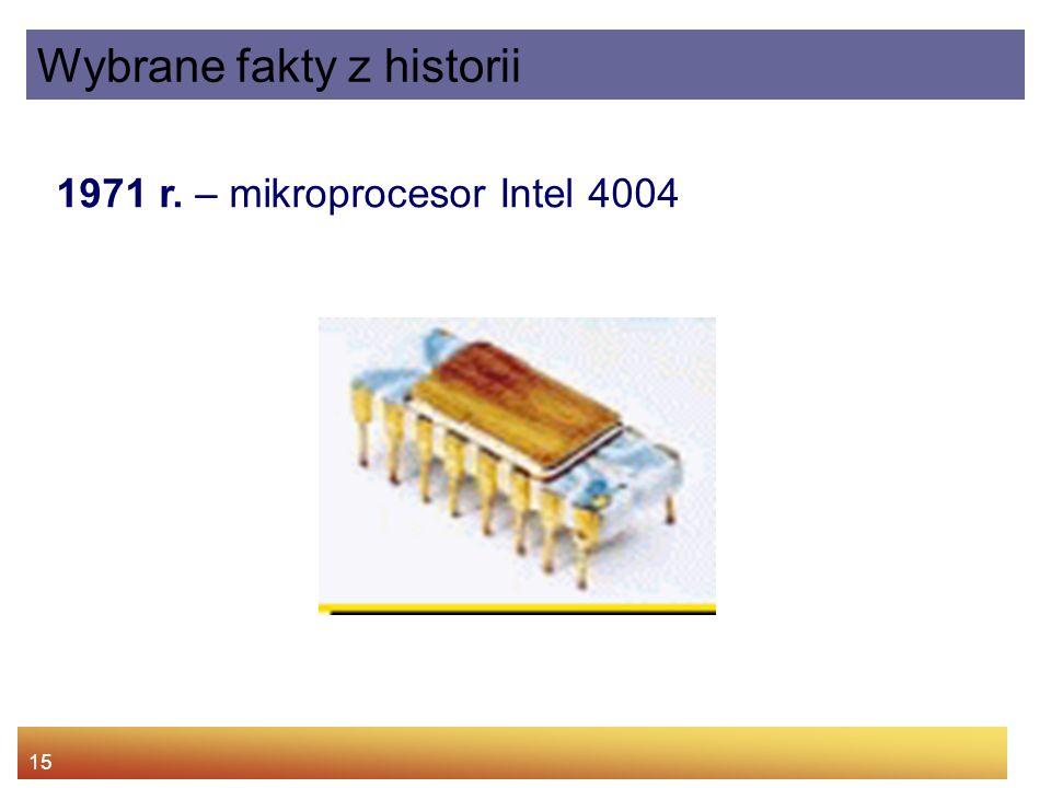 15 1971 r. – mikroprocesor Intel 4004 Wybrane fakty z historii