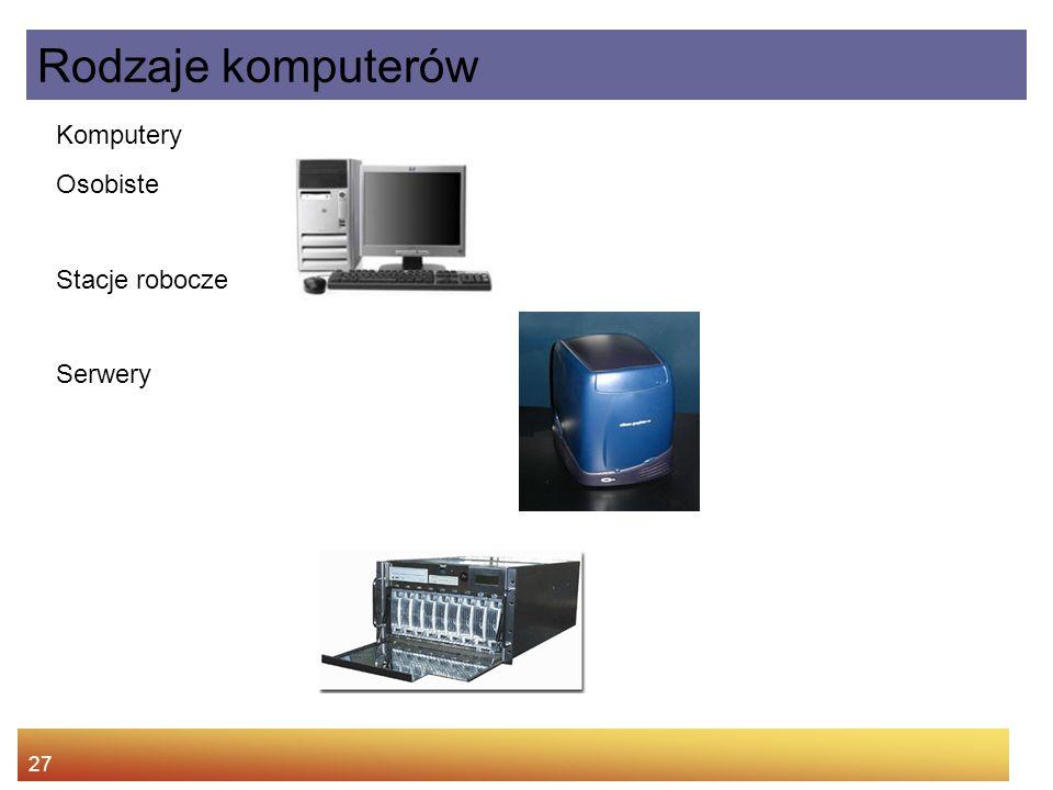 27 Komputery Osobiste Stacje robocze Serwery Rodzaje komputerów