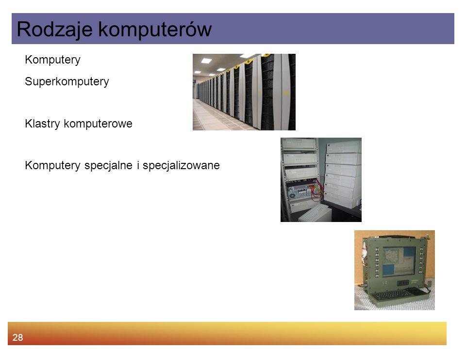 28 Komputery Superkomputery Klastry komputerowe Komputery specjalne i specjalizowane Rodzaje komputerów