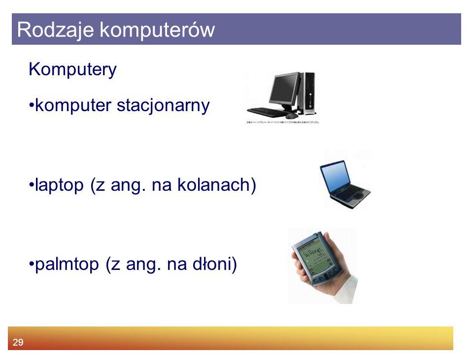 29 Rodzaje komputerów Komputery komputer stacjonarny laptop (z ang. na kolanach) palmtop (z ang. na dłoni)