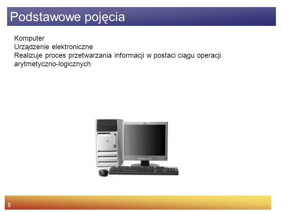 5 Komputer Urządzenie elektroniczne Realizuje proces przetwarzania informacji w postaci ciągu operacji arytmetyczno-logicznych Podstawowe pojęcia