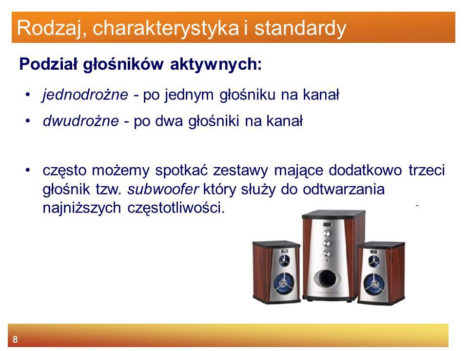 9 Rodzaj, charakterystyka i standardy Rodzaje głośników : piezoelektryczny, elektrostatyczny, izodynamiczny, moc wzmacniająca, jonowy, magnetoelektryczny –stożkowy, –kopułkowy, –wstęgowy, –wangera.