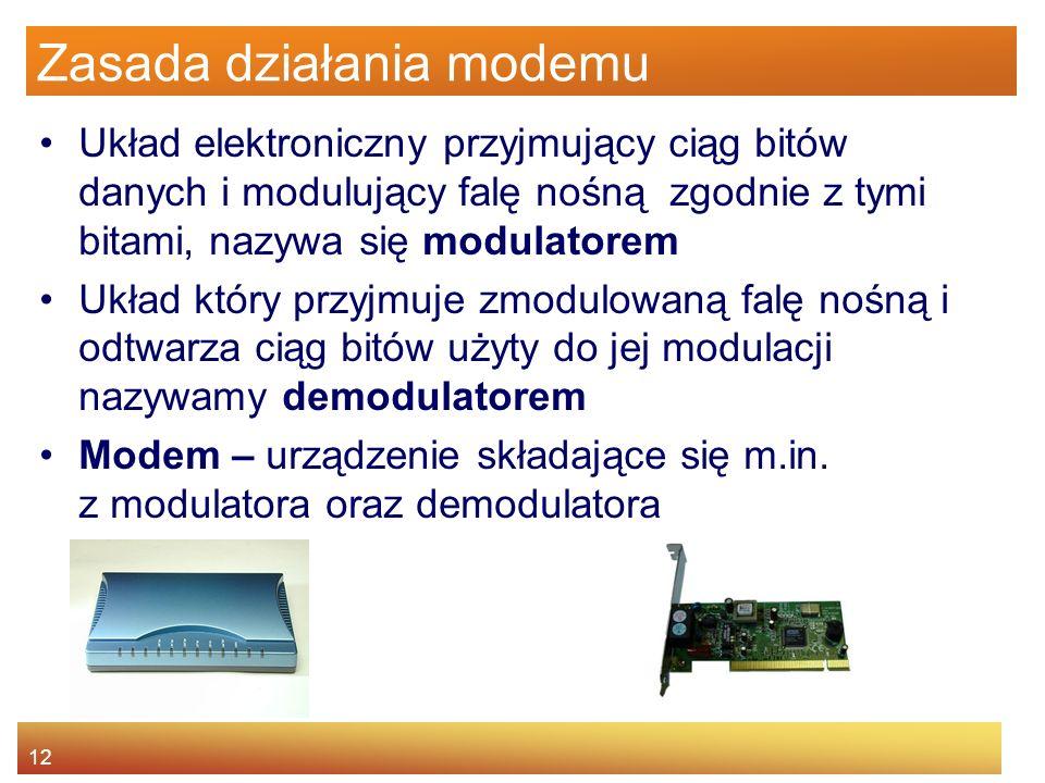 12 Zasada działania modemu Układ elektroniczny przyjmujący ciąg bitów danych i modulujący falę nośną zgodnie z tymi bitami, nazywa się modulatorem Ukł