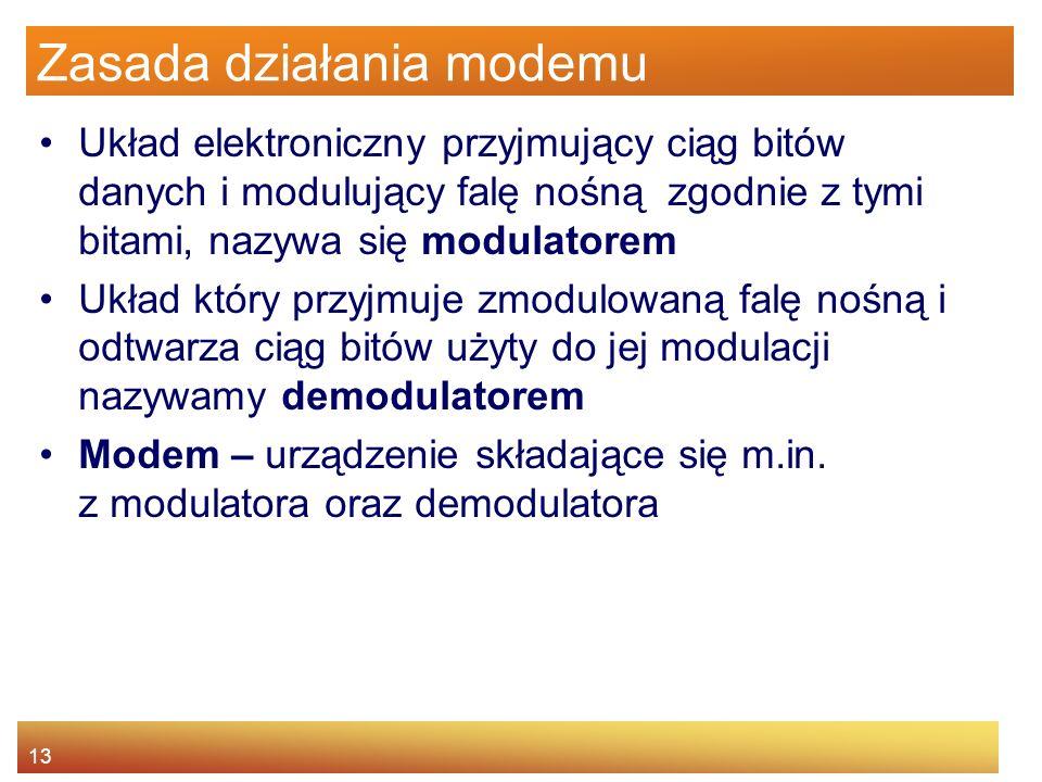 13 Zasada działania modemu Układ elektroniczny przyjmujący ciąg bitów danych i modulujący falę nośną zgodnie z tymi bitami, nazywa się modulatorem Ukł