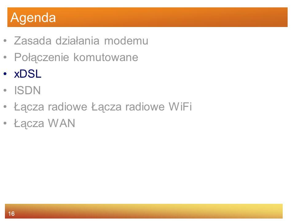 16 Agenda Zasada działania modemu Połączenie komutowane xDSL ISDN Łącza radiowe Łącza radiowe WiFi Łącza WAN