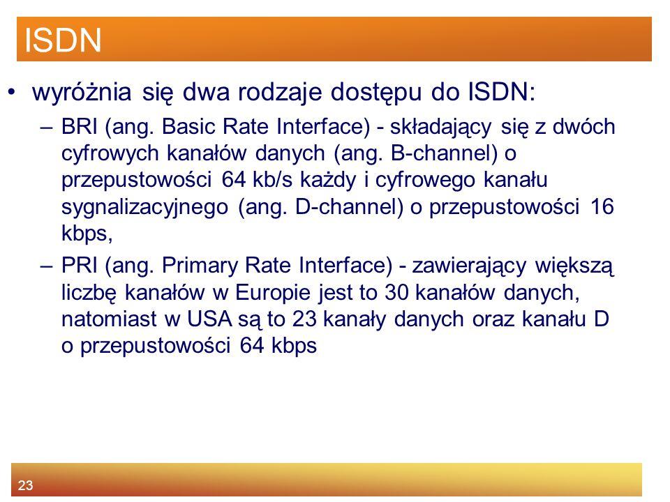 23 ISDN wyróżnia się dwa rodzaje dostępu do ISDN: –BRI (ang. Basic Rate Interface) - składający się z dwóch cyfrowych kanałów danych (ang. B-channel)
