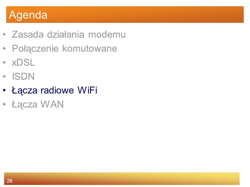 26 Agenda Zasada działania modemu Połączenie komutowane xDSL ISDN Łącza radiowe WiFi Łącza WAN