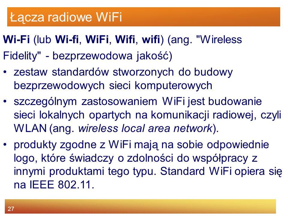 27 Łącza radiowe WiFi Wi-Fi (lub Wi-fi, WiFi, Wifi, wifi) (ang.