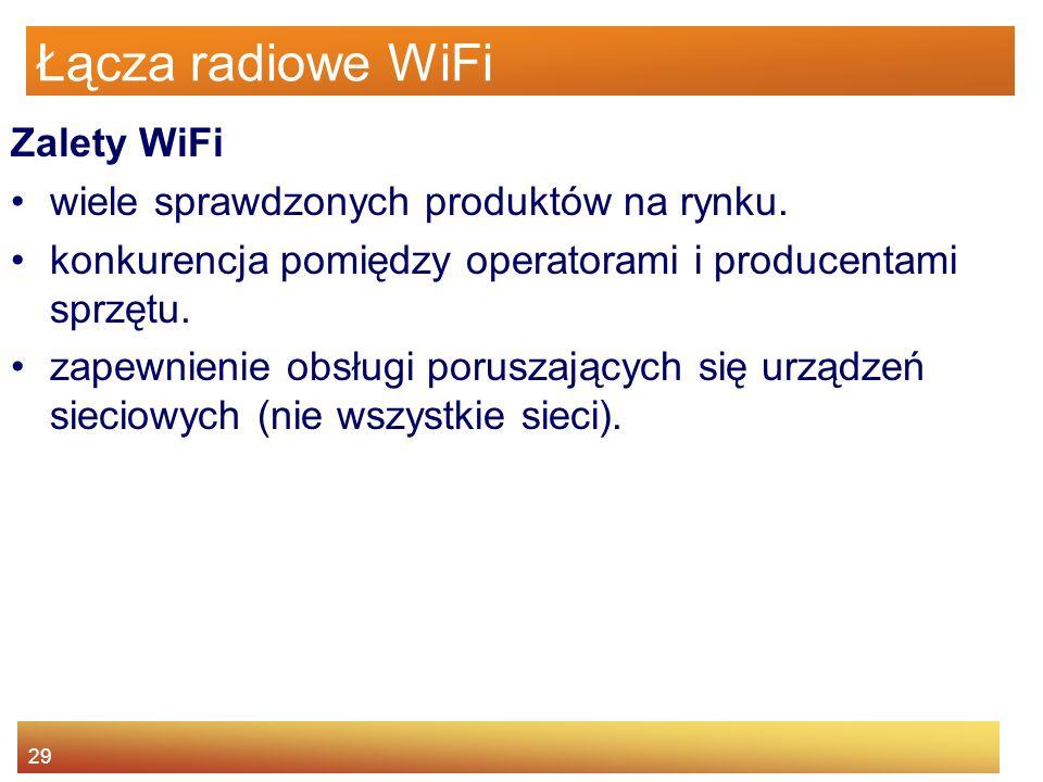 29 Łącza radiowe WiFi Zalety WiFi wiele sprawdzonych produktów na rynku. konkurencja pomiędzy operatorami i producentami sprzętu. zapewnienie obsługi