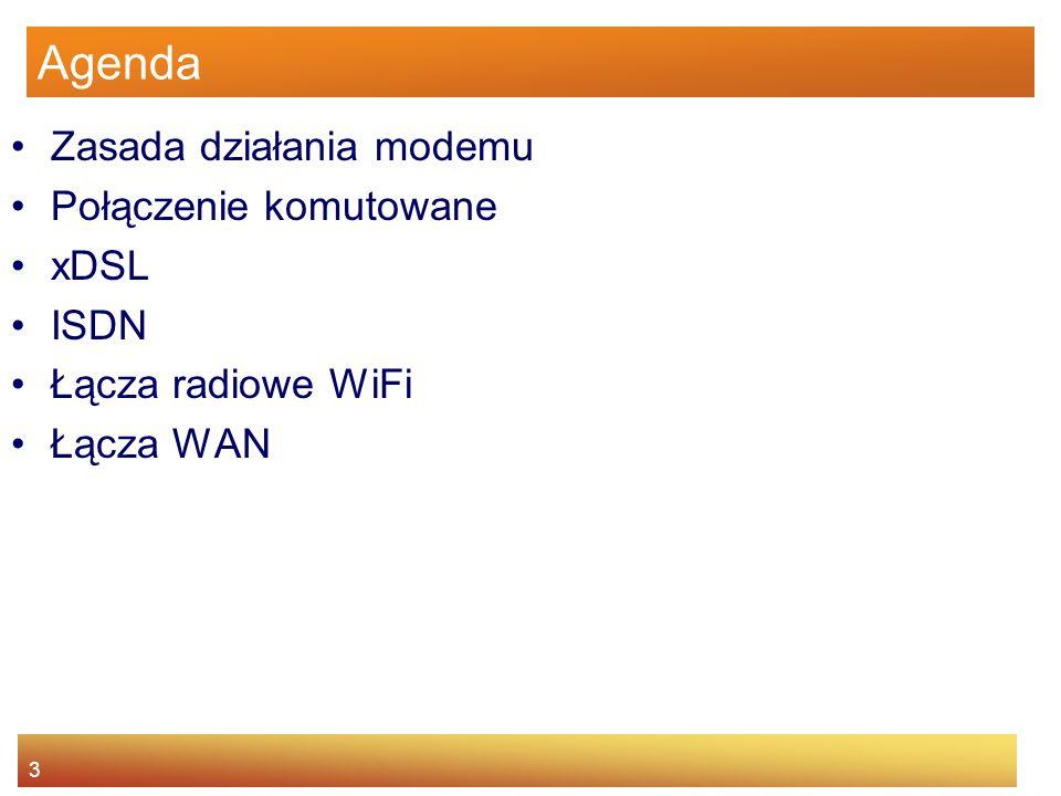 3 Agenda Zasada działania modemu Połączenie komutowane xDSL ISDN Łącza radiowe WiFi Łącza WAN