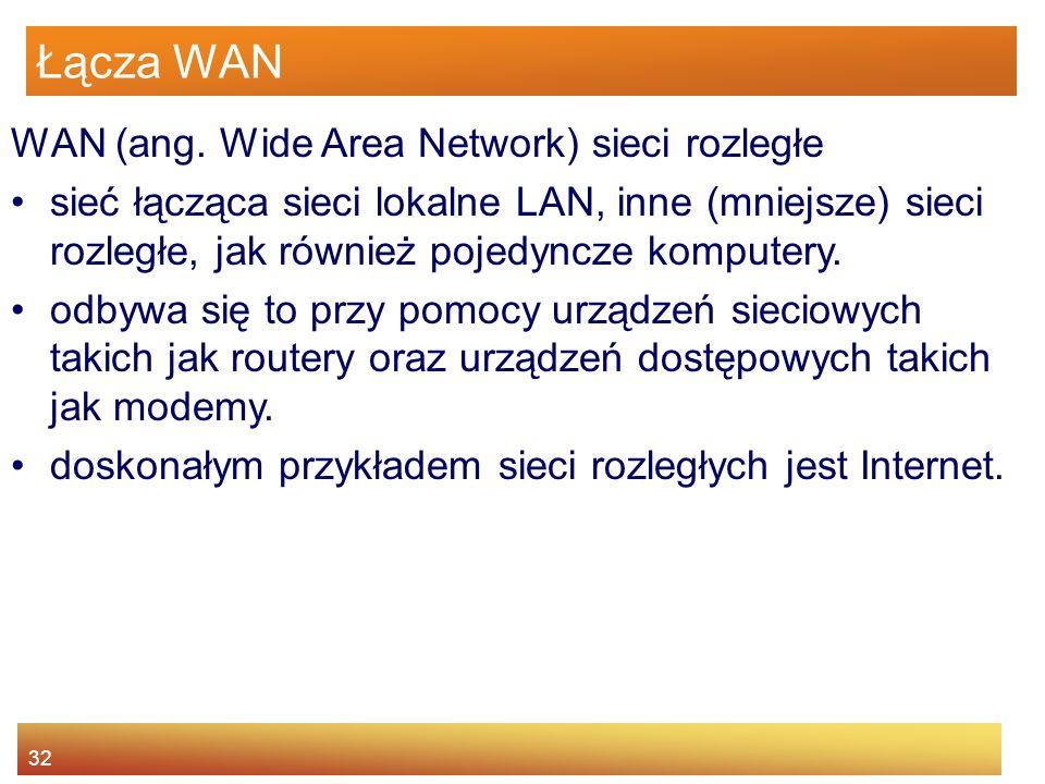 32 Łącza WAN WAN (ang. Wide Area Network) sieci rozległe sieć łącząca sieci lokalne LAN, inne (mniejsze) sieci rozległe, jak również pojedyncze komput