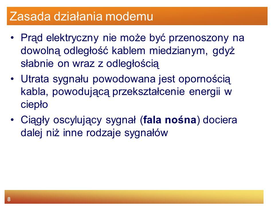 9 Zasada działania modemu Nadajnik aby wysłać dane modyfikuje nieznacznie falę nośną nakładając na nią sygnał zawierający dane (modulacja) Wykorzystywane są różne techniki modulacji –modulacja amplitudy - zmiana amplitudy (ang.