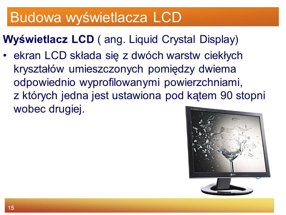 15 Budowa wyświetlacza LCD Wyświetlacz LCD ( ang.