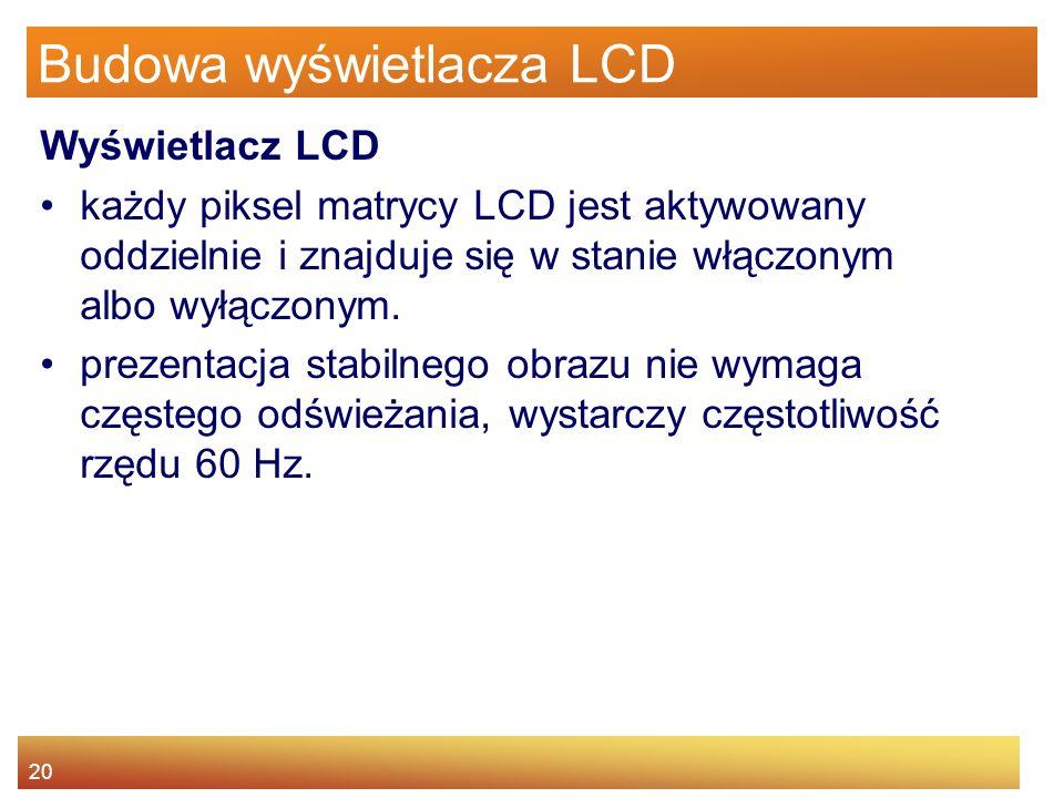 20 Budowa wyświetlacza LCD Wyświetlacz LCD każdy piksel matrycy LCD jest aktywowany oddzielnie i znajduje się w stanie włączonym albo wyłączonym.
