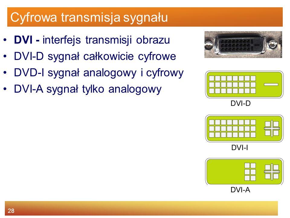 28 Cyfrowa transmisja sygnału DVI - interfejs transmisji obrazu DVI-D sygnał całkowicie cyfrowe DVD-I sygnał analogowy i cyfrowy DVI-A sygnał tylko analogowy