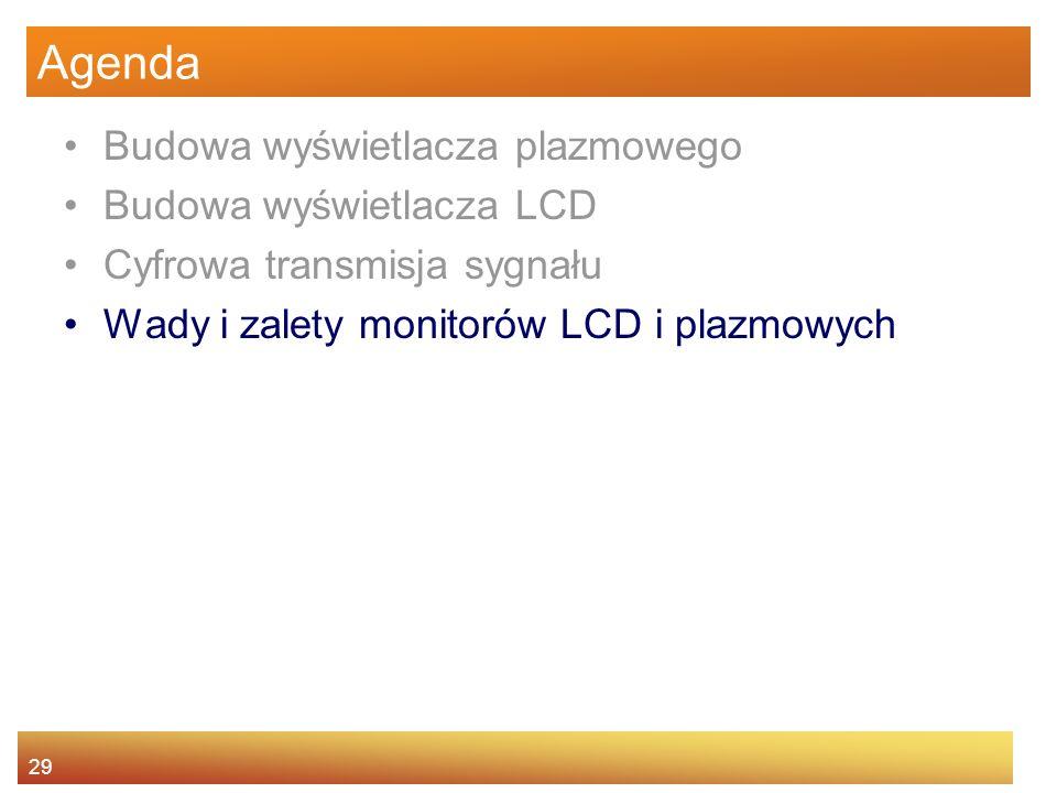 29 Agenda Budowa wyświetlacza plazmowego Budowa wyświetlacza LCD Cyfrowa transmisja sygnału Wady i zalety monitorów LCD i plazmowych