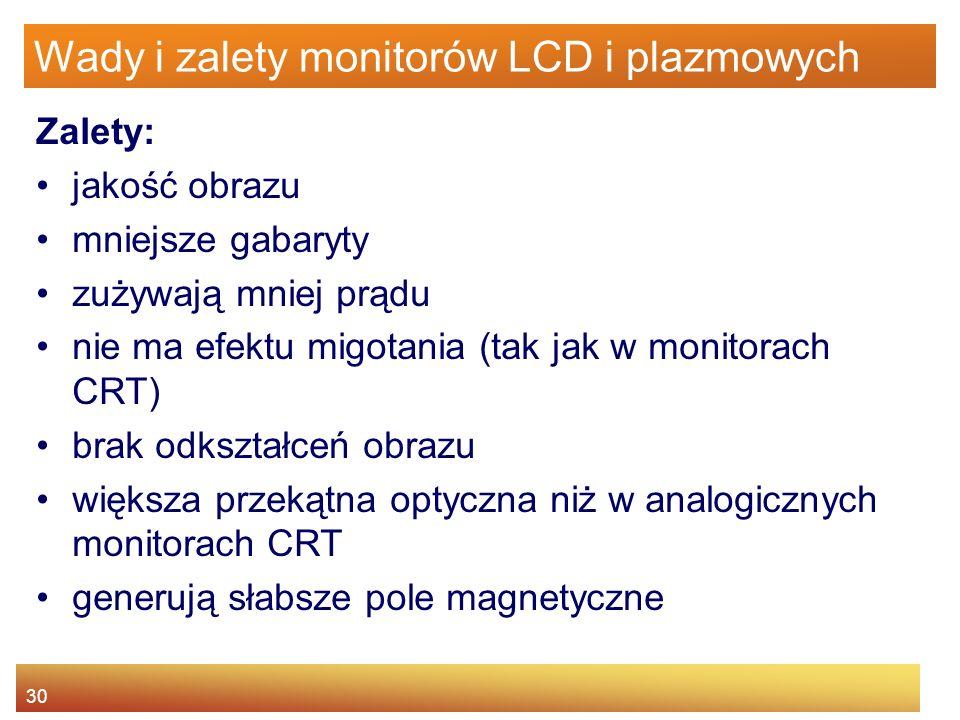 30 Wady i zalety monitorów LCD i plazmowych Zalety: jakość obrazu mniejsze gabaryty zużywają mniej prądu nie ma efektu migotania (tak jak w monitorach CRT) brak odkształceń obrazu większa przekątna optyczna niż w analogicznych monitorach CRT generują słabsze pole magnetyczne