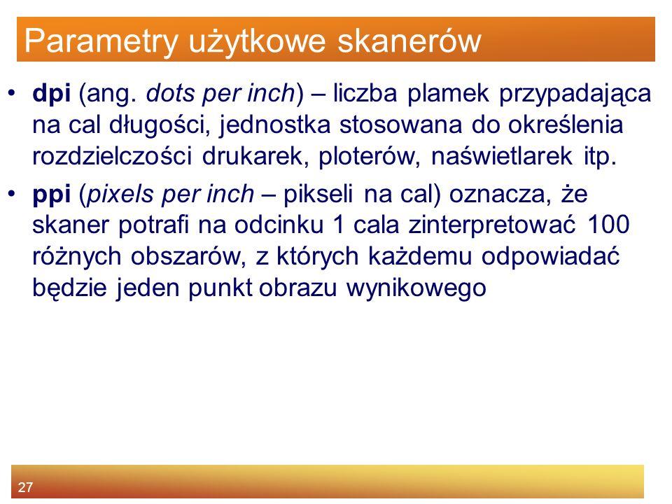 27 Parametry użytkowe skanerów dpi (ang.