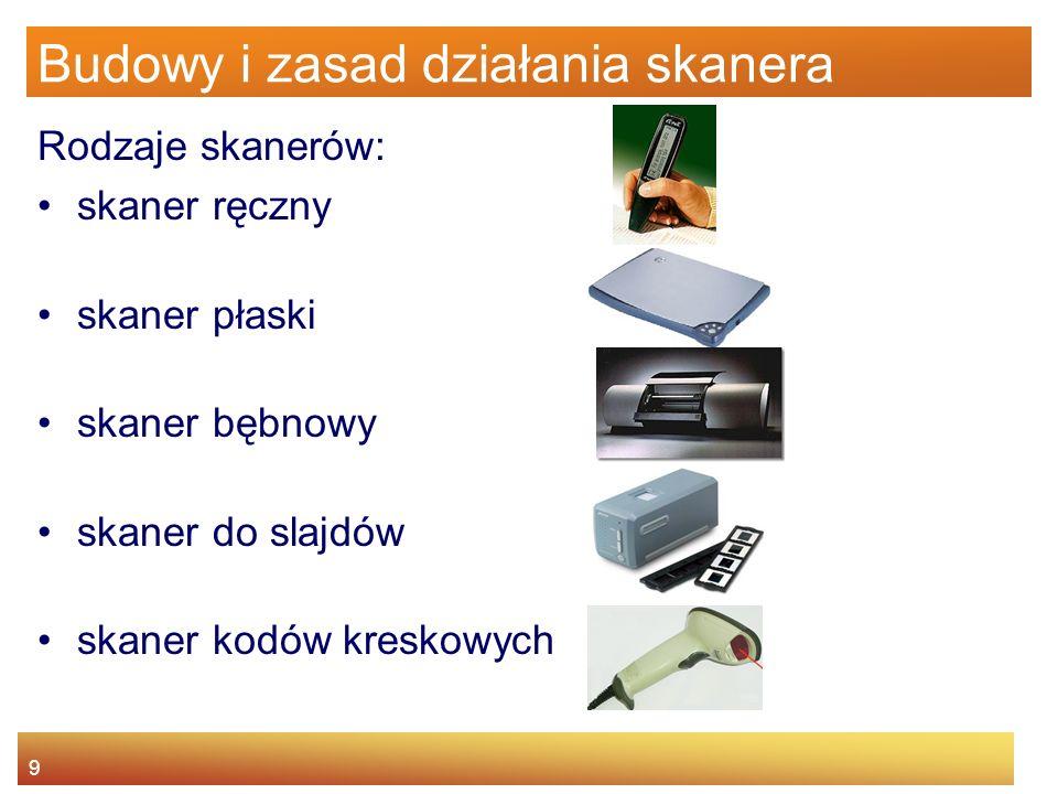 9 Budowy i zasad działania skanera Rodzaje skanerów: skaner ręczny skaner płaski skaner bębnowy skaner do slajdów skaner kodów kreskowych